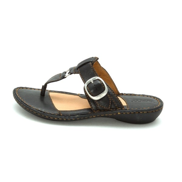 Born Womens Tunney Leather Split Toe Casual T-Strap Sandals