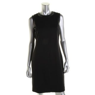 Ralph Lauren Womens Petites Ashley Ponte Leather Trim Cocktail Dress - 8P