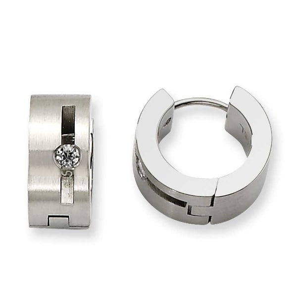Chisel Stainless Steel CZ Satin Round Hinged Hoop Earrings