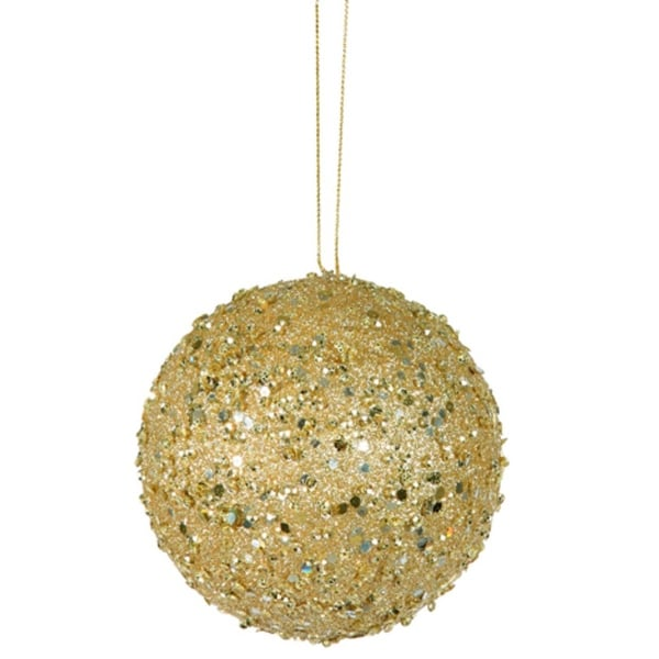 "Fancy Gold Holographic Glitter Drenched Christmas Ball Ornament 4"" (100mm)"