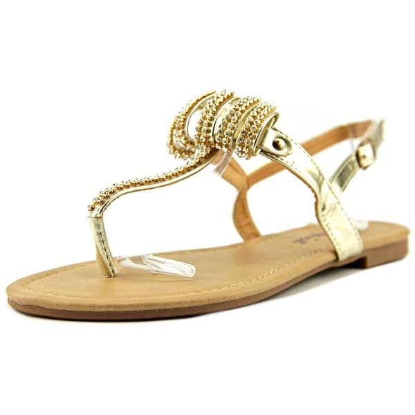 Dollymix Joanna-5 Women Open-Toe Synthetic Gold Slingback Sandal