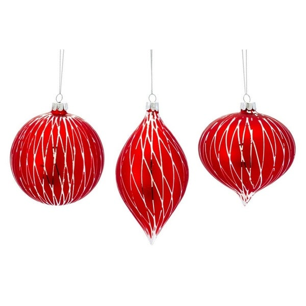 """Pack of 12 Ruby Red Silver Lined Glass Ball, Onion, and Finial Christmas Ornaments 6"""""""