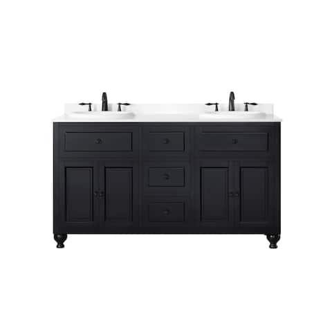 OVE Decors Kensington 60 in Black Double Sink Bathroom Vanity with Marble Top