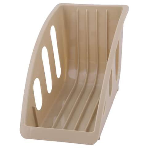 Restaurant Kitchen Plastic Plate Bowl Drying Storage Holder Dish Rack Khaki