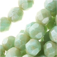 Czech Fire Polished Glass Beads 6mm Round 'Opaque Pale Turquoise Star Dust' (25)