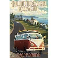 Huntington Beach, CA - VW Van Cruise - LP Artwork (Art Print - Multiple Sizes)