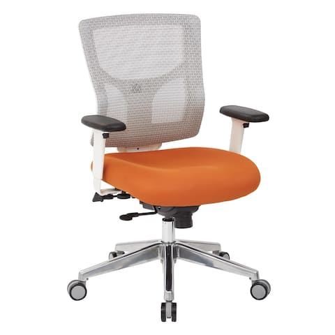 White Mesh Mid-back Office Chair with 2-way Adjustable Arms
