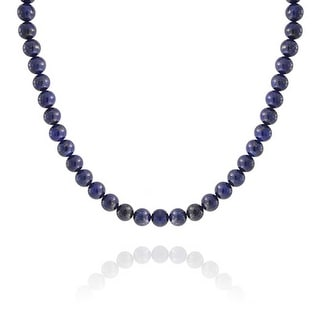 Bling Jewelry Silver Plated Round 10mm Lapis Lazuli Bead Necklace 18 Inch - Blue