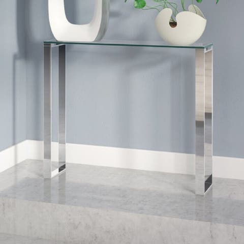 """Modern Gem Glass Console Table with Chrome Finish 36"""""""