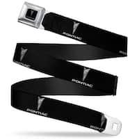 Pontiac Black Silver Logo Repeat Seatbelt Belt Fashion Belt