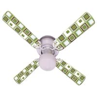 Green White Mod Squares Print Blades 42in Ceiling Fan Light Kit - Multi