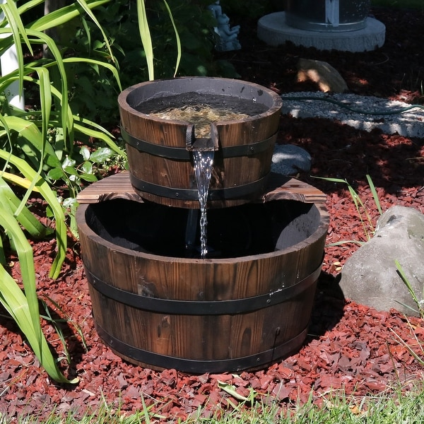 Sunnydaze Rustic Stacked Wooden Bowls Outdoor Water Fountain 16 Inch Tall