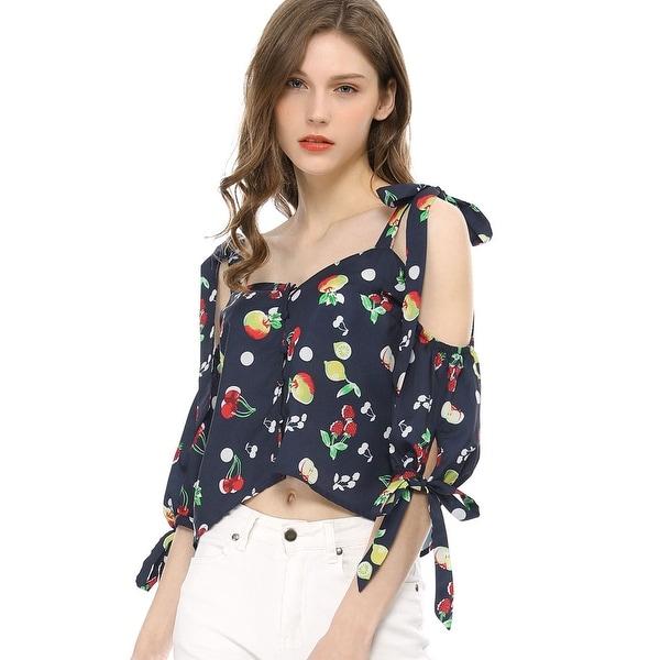 0d2c1871df65 Unique Bargains Women's Cold Shoulder Tie Sleeves Button Front Fruit  Floral Print