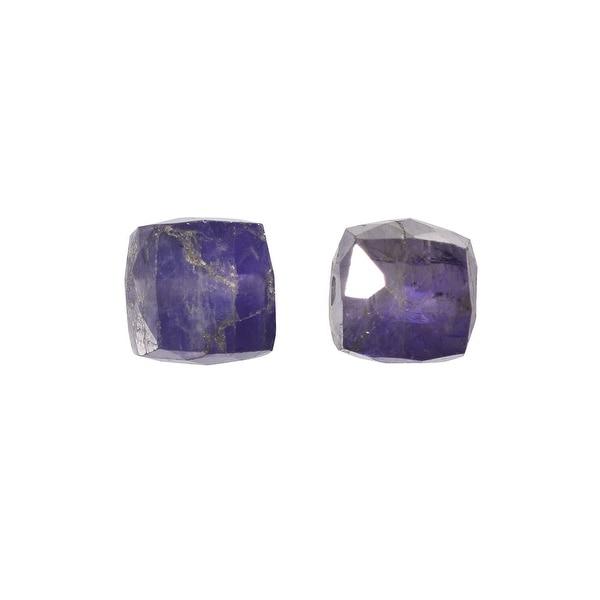 Iolite Gemstone Beads, Faceted Cubes 5mm, 6 Pieces, Cobalt Blue