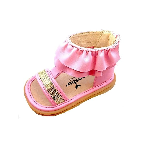 dELiAs Girls Fashion Sandals Glitter Summer Party Flats with Ruffle Strap