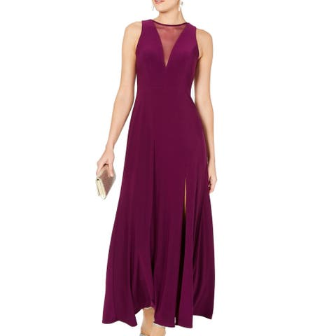 Nightway Womens Gown Berry Purple Size 10 Sheer Illusion T High Slit