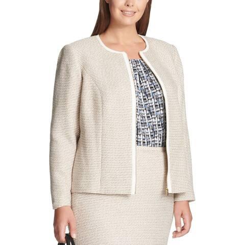 Calvin Klein Women's Tweed Beige Size 22W Plus Full-Zip Lined Jacket
