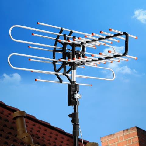 Outdoor 150 Mile 360 Degree Rotation OTA Amplified HD TV Antenna for 2 TVs with Wireless Remote Control