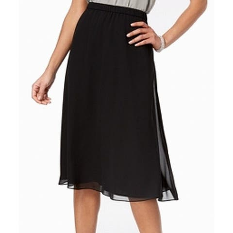 Alex Evenings Women's Skirt Black Size Large PL Petite A-Line Chiffon