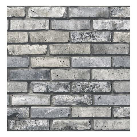Painted Grey Brick Wallpaper - 20.5 x 396 x 0.025
