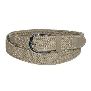 CTM® Men's Elastic Braided Stretch Belt with Silver Buckle and Matching Tabs
