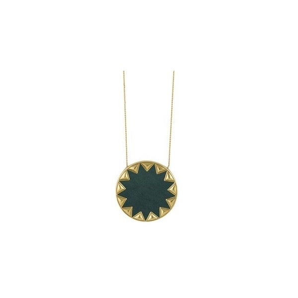 House of Harlow by Nicole Richie Womens Sunburst Pendant Necklace Leather