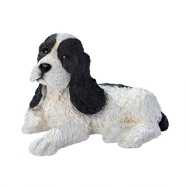 "10"" Sitting Black and White Cocker Spaniel Puppy Dog Statue - N/A"