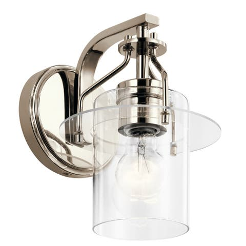 Kichler Everett 9 Inch 1 Light Wall Sconce with Clear Glass in Polished Nickel