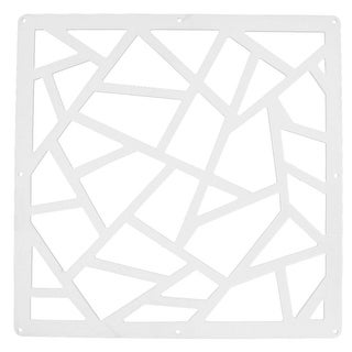 Home Living Room Geometric Pattern Hollow Out Window Panel Hanging Screen White