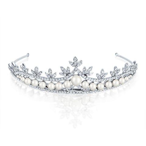 Bridal Princess Tiara Rhinestone Imitation Pearl Rhodium Plated