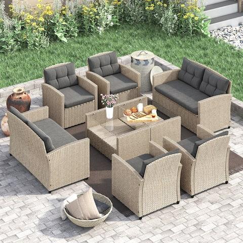 Corvus Armitage 8-piece Outdoor Wicker Sofa Set with Cushions