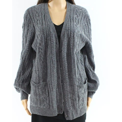 Lauren By Ralph Lauren Gray Womens Size XS Open Front Cardigan