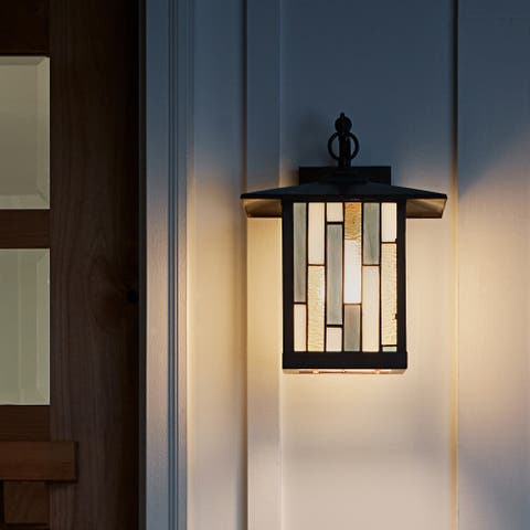 """River of Goods Amber Stained Glass and Oil Rubbed Bronze 1-Light Outdoor Lantern Wall Sconce - 10.75"""" x 9"""" x 11.75"""""""