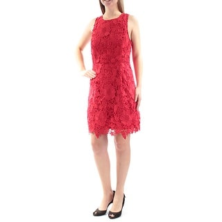 KENSIE $99 Womens New 1342 Red Floral Embroidered Sleeveless Shift Dress M B+B