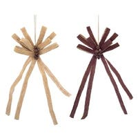 Pack of 6 Brown Burlap Bows with Bells Decorative Country Rustic Christmas Ornaments 21.5""