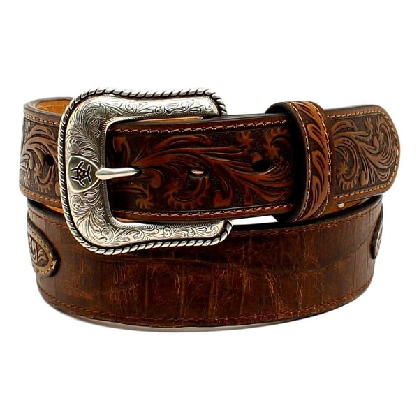 Ariat Western Belt Mens Leather Overlay Floral Concho Brown