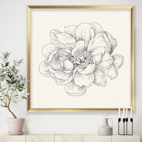 Designart 'Pen and Ink Florals IV' Farmhouse Framed Art Print