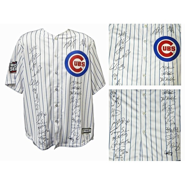 4b6297c0f Shop 2016 Chicago Cubs Team Chicago Cubs Joe Maddon White Pinstripe  Majestic Jersey w2016 WS Patch 26 Si - Free Shipping Today - Overstock -  17974589