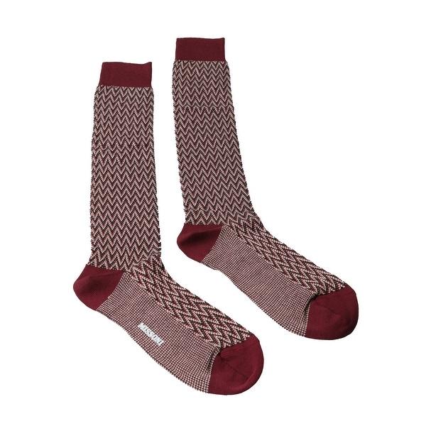 Missoni GM00CMU5240 0002 Maroon/Cream Knee Length Socks