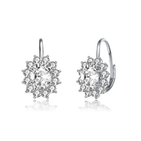 Alberto Moore Rhodium Plated Clear Round and Oval Cubic Zirconia Leverback Earrings