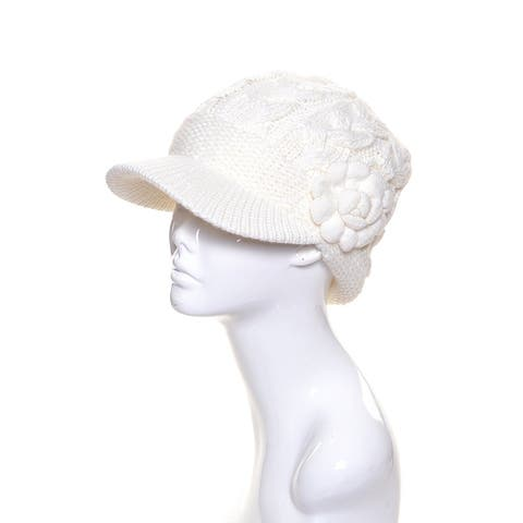 Chunky Cable Knit Beanie Wool Visor with Flower