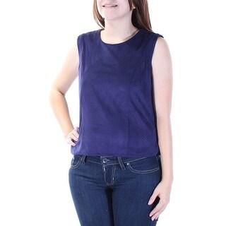 Womens Navy Sleeveless Scoop Neck Top Size S