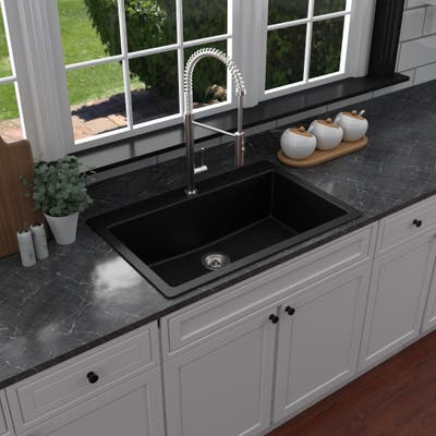 Karran QT-812 Top Mount 33 in. Large Single Bowl Quartz Kitchen Sink
