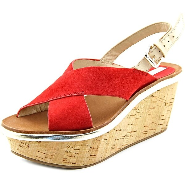 Diane Von Furstenberg Maven Women  Open Toe Suede Red Wedge Heel