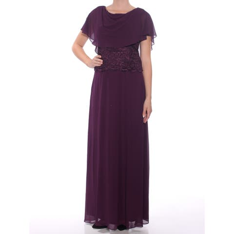 JESSICA HOWARD Womens Purple Glitter Lace Sleeveless Cowl Neck Maxi Accordion Pleat Formal Dress Size: 8