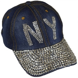 NY New York Sparkling Bedazzled Studded Baseball Cap Hat, Denim, Dark Blue