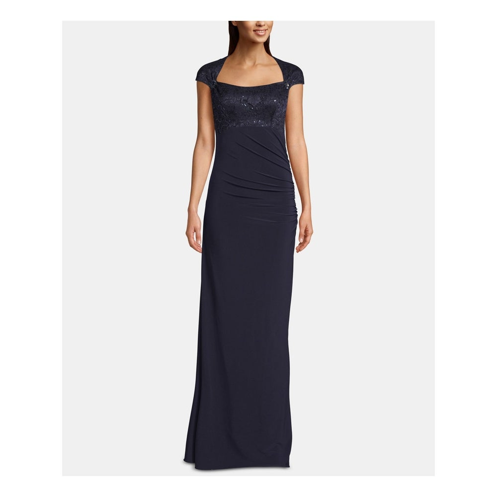 BETSY & ADAM Navy Short Sleeve Full-Length Sheath Dress Size 10