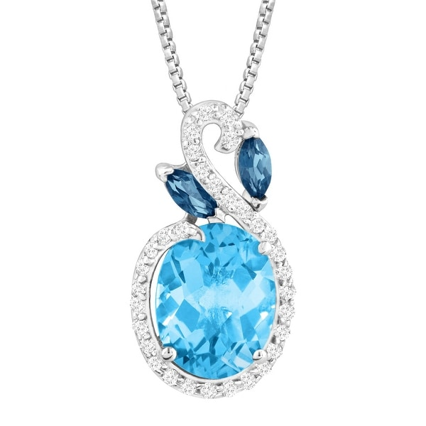 3 1/2 ct Natural Multi-Blue & White Topaz Pendant in Sterling Silver - Blue