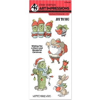 "Art Impressions Christmas Cling Rubber Stamp Set 8""X4""-Southwest Christmas"