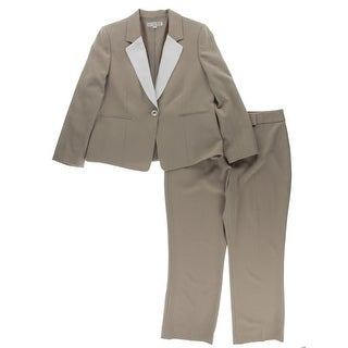 Tahari ASL Womens Petites American Faith Pant Suit Crepe Colorblock